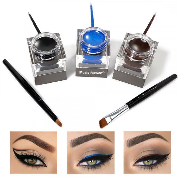 Poze Eyeliner Gel 3 culori + 2 pensule - Maro, Negru, Albastru