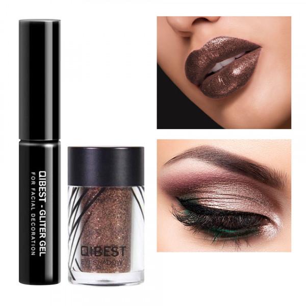 Poze Glitter ochi cu adeziv inclus Glowing Metallic #11 Brown