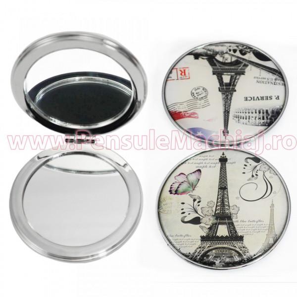 Poze Oglinda de Poseta Cosmetica Rotunda Dubla - Vintage Old Paris 11