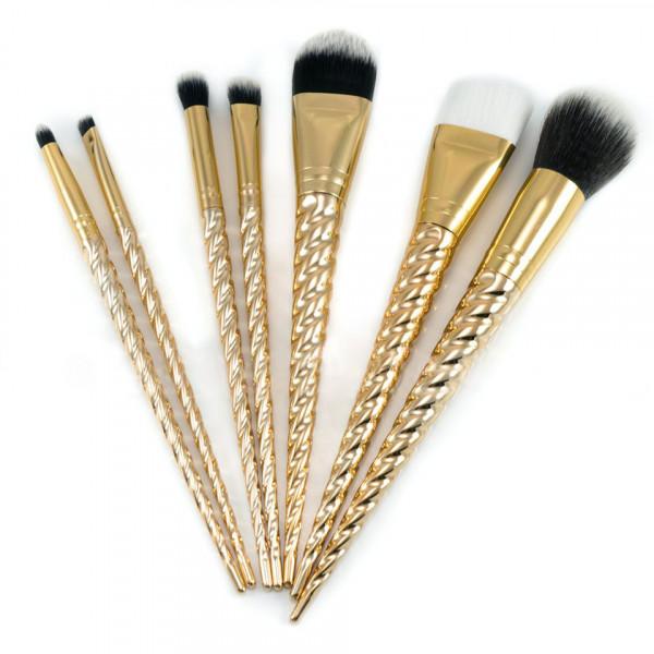 Poze Set 7 pensule machiaj Gold Unicorn Limited Edition