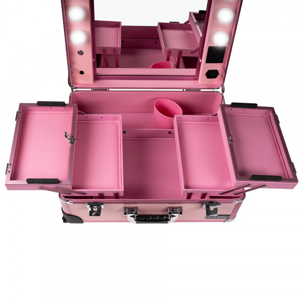 Poze Statie Makeup Portabila Profesionala cu Lumini, Pink Delight - LUXORISE