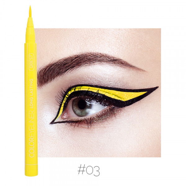 Poze Eyeliner colorat Qibest Waterproof, Galben #03