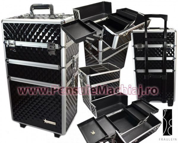 Geanta Produse Cosmetice Din Aluminium Tip Troler Fraulein38, Model Maxi Obsidian Black