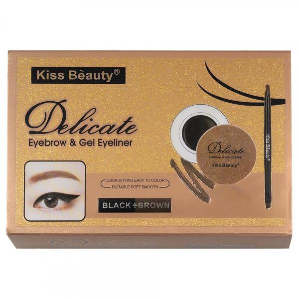 Poze Kit sprancene 2 in 1, 2 eyelinere crema-gel, 2 pudre sprancene + pensula aplicare