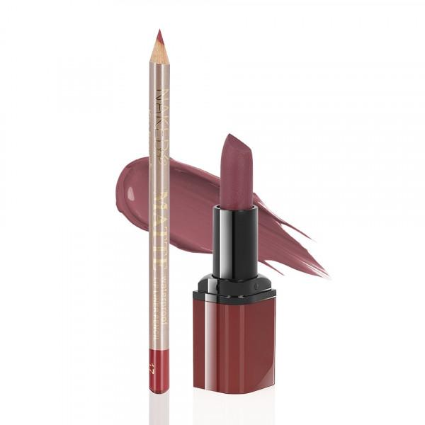 Poze Ruj Mat Kiss Beauty + Creion Buze Be Special #12