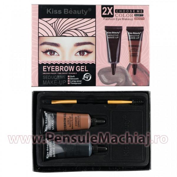 Poze Kit sprancene 2 geluri + pensula & perie aplicare #02 PerfectBrow Kiss Beauty