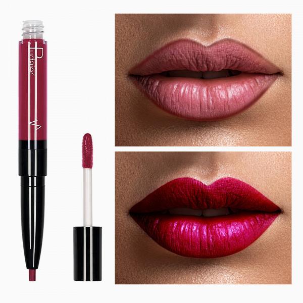 Poze Ruj lichid mat 2 in 1 cu creion de buze Pudaier KissME #15