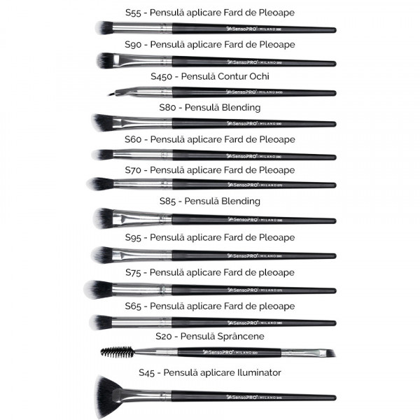 Poze Set 12 pensule machiaj SensoPRO Milano, Black Silver + Borseta Cadou