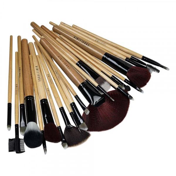 Poze Set 24 pensule machiaj din par natural Fraulein38 Natural Wood + Borseta Cadou