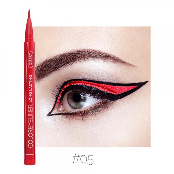 Poze Eyeliner colorat Qibest Waterproof, Rosu #05