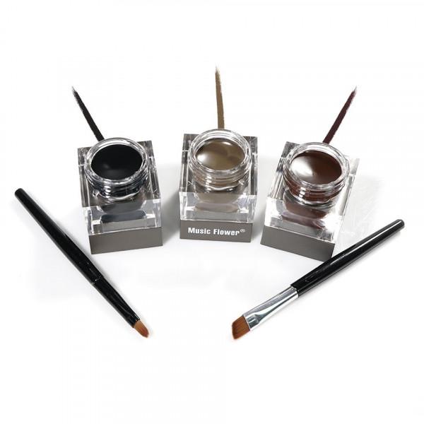 Poze Eyeliner Gel 3 culori + 2 pensule - Maro, Negru, Maro inchis