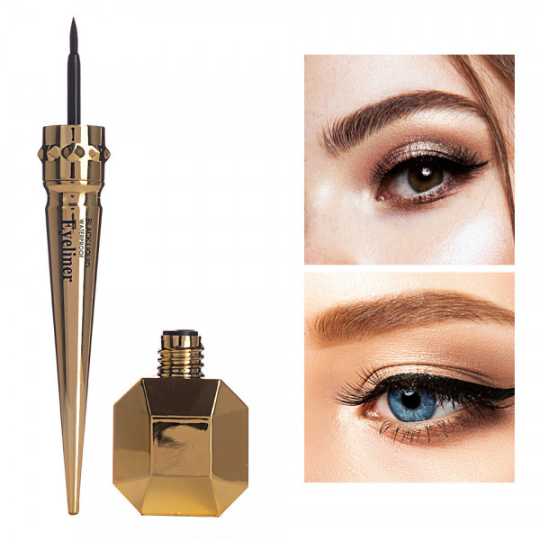 Poze Eyeliner Lichid Waterproof Formula Sheer Gold