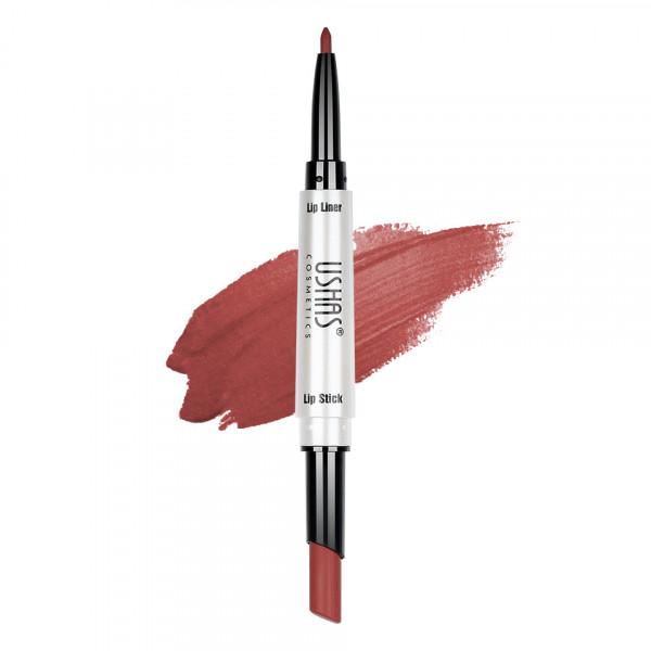 Poze Ruj mat 2 in 1 cu creion de buze Ushas 3D Lip Deluxe #26