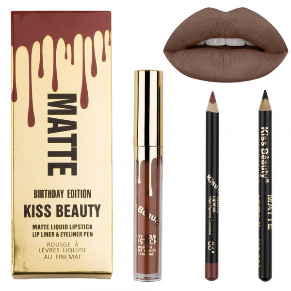 Poze Set Ruj Lichid Mat + Creioane Kiss Beauty Brown Coffee #06