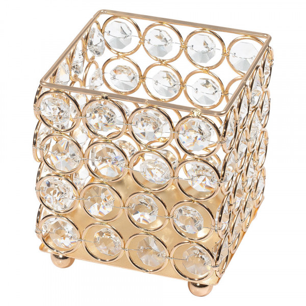 Poze Suport Pensule Machiaj Diamond Crystal LUXORISE, Gold
