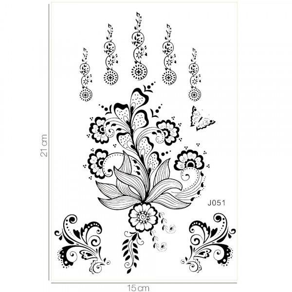Poze Tatuaj Temporar LUXORISE Henna Temptation Flying Flowers J051
