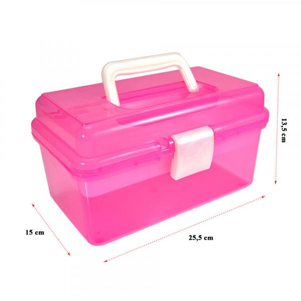 Poze Cutie Cosmetice Compartimentata Roz, cu un sertar si maner
