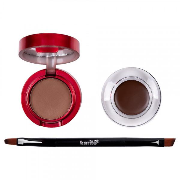 Poze Eyeliner Crema Gel, Pudra Sprancene + Pensula Aplicare, Karite Christmas Edition, Brown