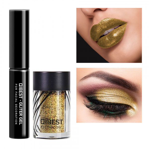 Poze Glitter ochi cu adeziv inclus Glowing Metallic #03 Pale Gold