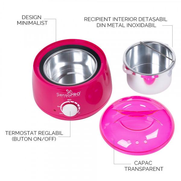Poze Kit Epilare Ceara Traditionala Granule PRO WAX150 SensoPRO Milano - Titanio Rosa, 500 ml