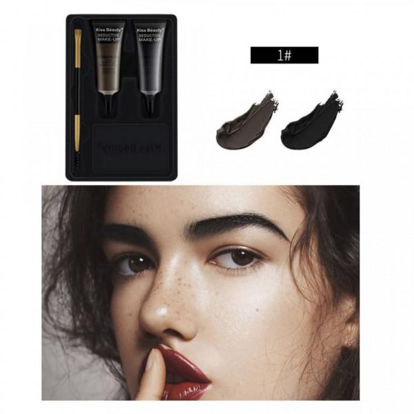 Poze Kit sprancene 2 geluri + pensula & perie aplicare #01 Browlicious Kiss Beauty