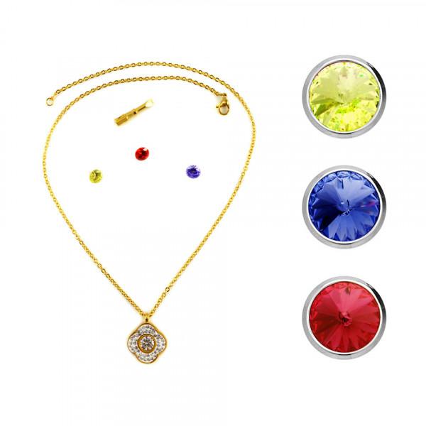Poze Lantisor Inox cu Pandantiv Flower Power + Set 3 pietre de schimb