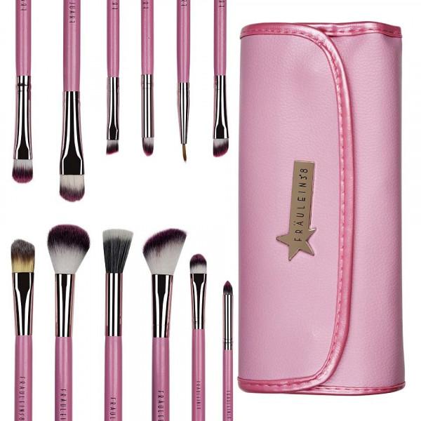 Poze Set 12 pensule profesionale machiaj Fraulein38 Pink Candy + Borseta Cadou