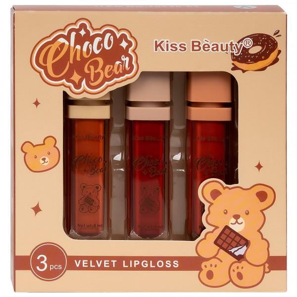 Poze Set 3 Rujuri Lichide Mate Choco Bear Kiss Beauty Velvet Lipgloss B