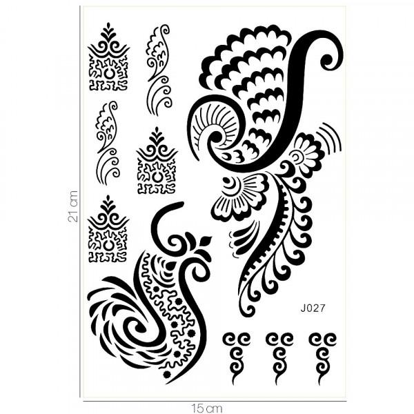 Poze Tatuaj Temporar LUXORISE Henna Temptation Fancy Feathers J027
