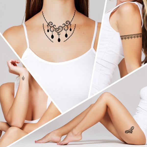 Poze Tatuaj Temporar LUXORISE Henna Temptation Neck Line J035