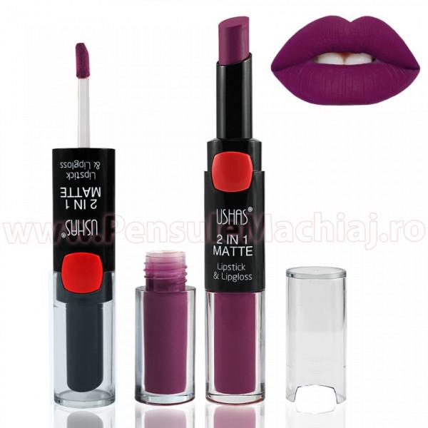 2 In 1 Matte Lipstick & Lipgloss #11 - Darkpurple