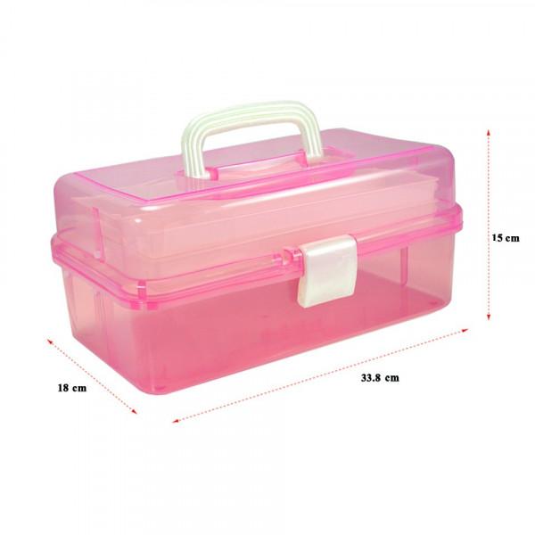 Poze Cutie Cosmetice Compartimentata Roz, cu doua sertare si maner