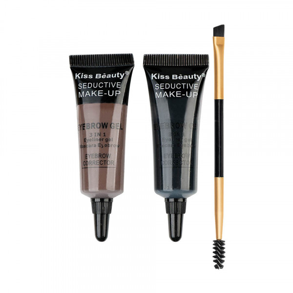 Poze Kit sprancene 2 geluri + pensula aplicare #01 Browlicious Kiss Beauty
