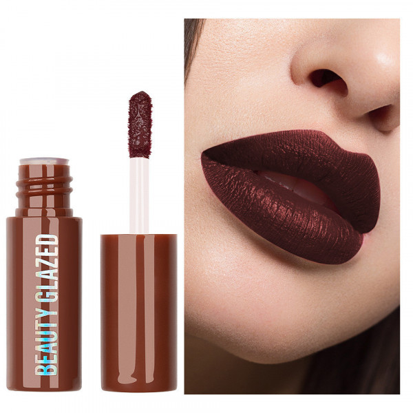 Poze Ruj lichid mat Beauty Glazed Chocolate Silky Lipgloss, Sangria Red #106