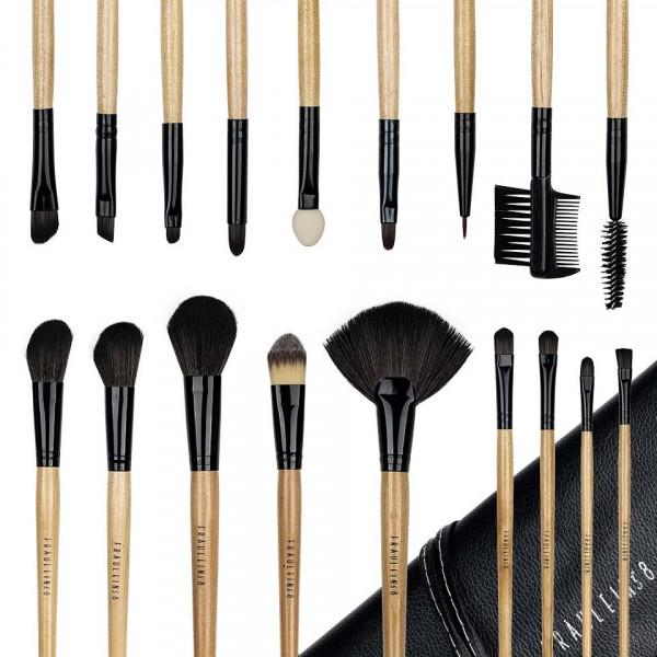 Poze Set 18 pensule profesionale machiaj Fraulein38 Natural Wood + Borseta Cadou