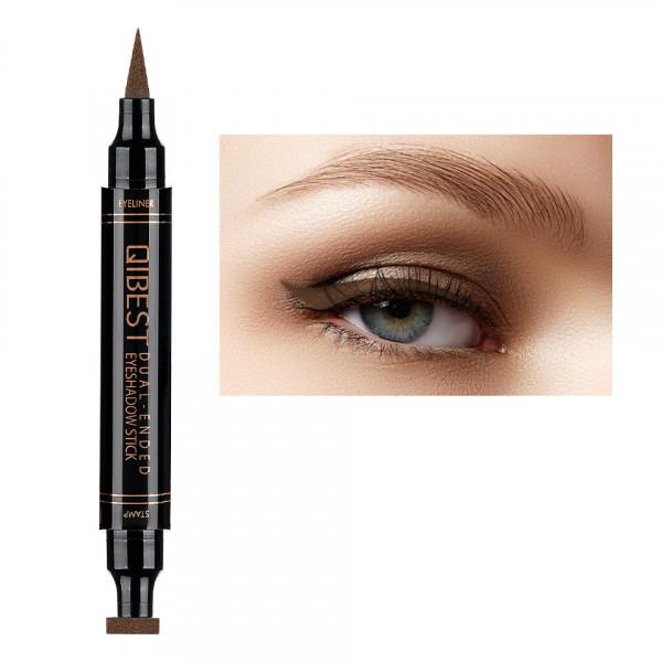 Poze Eyeliner Colorat tip Carioca cu Stampila Ochi, Qibest Mirage Brown #02