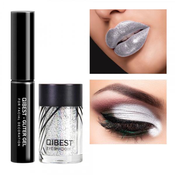 Poze Glitter ochi cu adeziv inclus Glowing Metallic #02 Pearl Silver