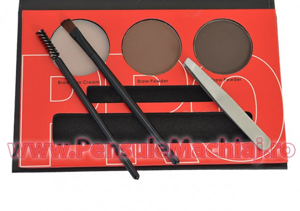 Poze Kit Sprancene pudra, ceara, penseta, pensula - Brow Professional #01