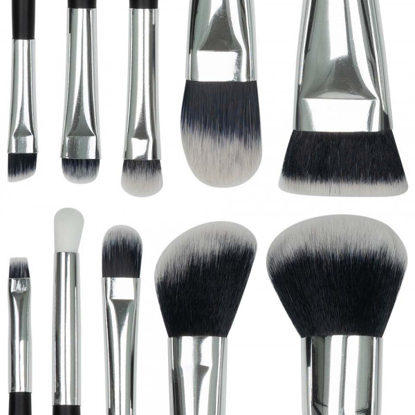 Poze Set 10 pensule machiaj SensoPRO Milano, Black Silver + Borseta Cadou