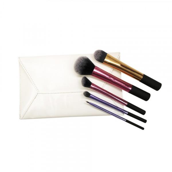 Poze Set 5 pensule machiaj profesionale Perfect Gift + Borseta Cadou
