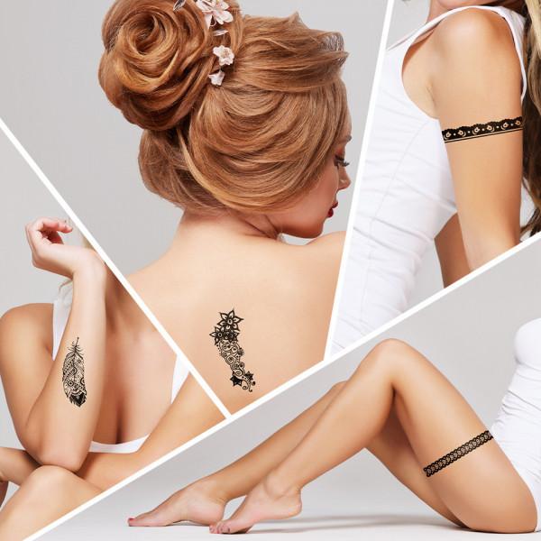 Poze Tatuaj Temporar LUXORISE Henna Temptation Strong Feathers J010