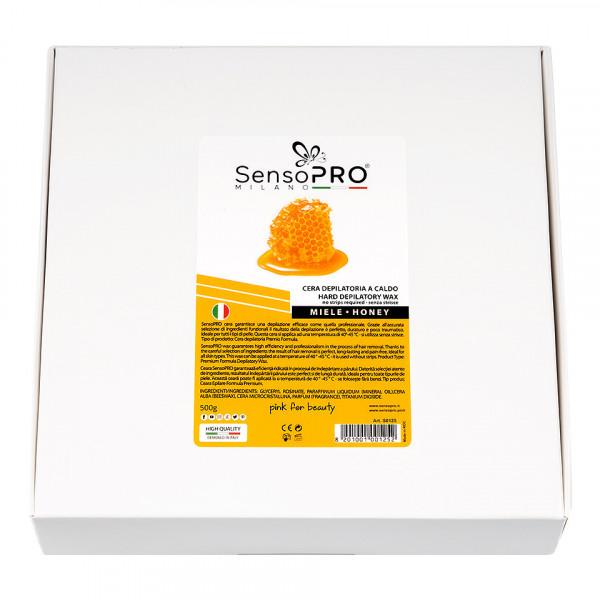 Poze Ceara Epilat Elastica Refolosibila SensoPRO Milano Honey Hard Round Wax, 500g