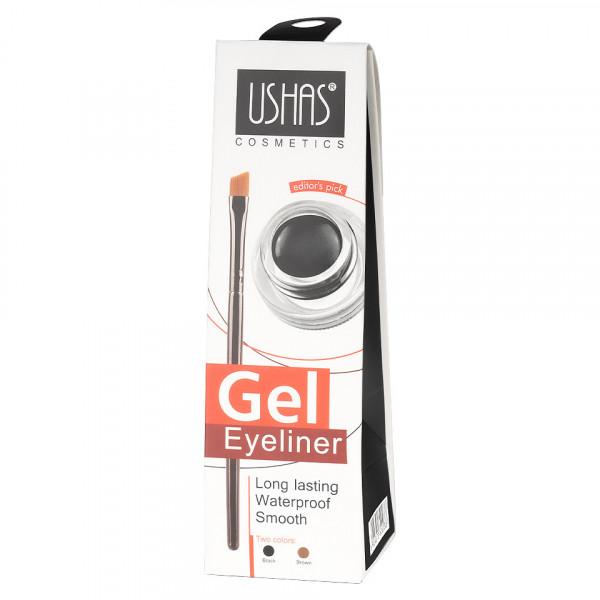 Poze Eyeliner Gel Waterproof Ushas Brown + pensula aplicare