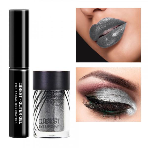 Poze Glitter ochi cu adeziv inclus Glowing Metallic #01 Dark knight