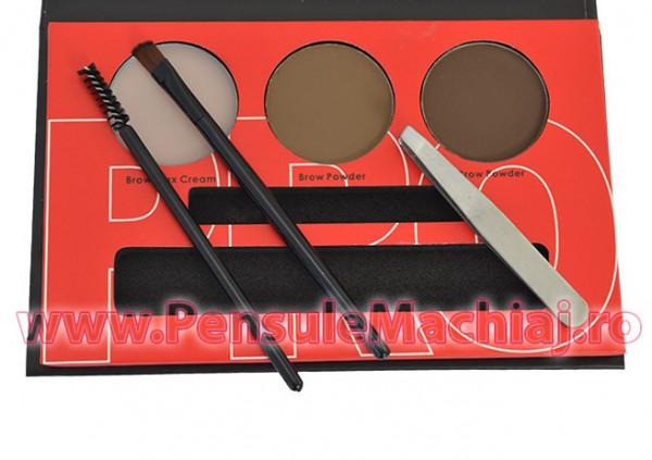 Poze Kit Sprancene pudra, ceara, penseta, pensula - Brow Professional #02