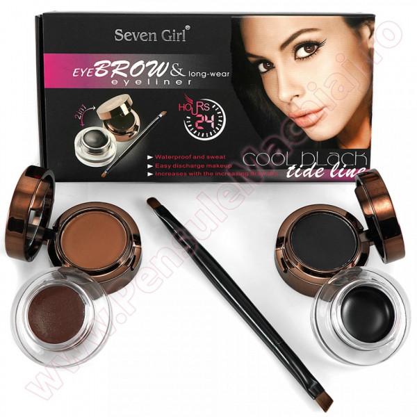 Set 2 In 1 Eyeliner Gel & Eyebrow Black & Brown + 1 Pensula Dubla