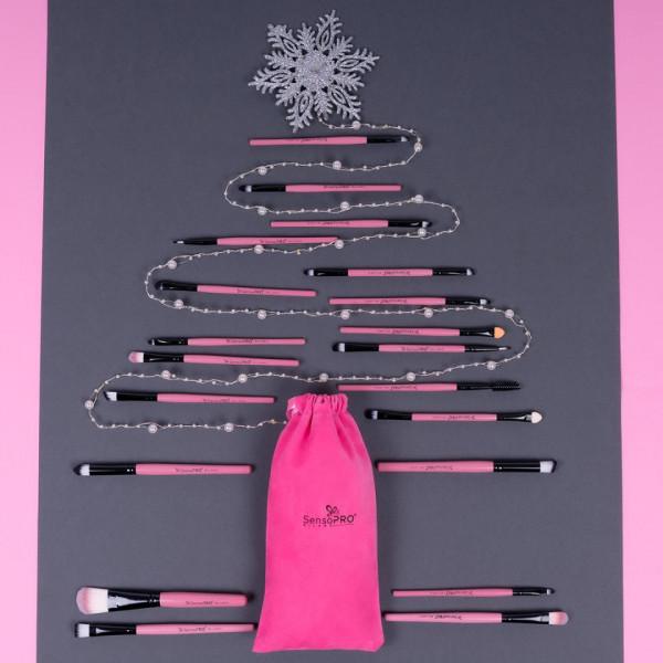 Poze Set 20 Pensule Machiaj Profesionale SensoPRO Milano Travel Pink + CADOU