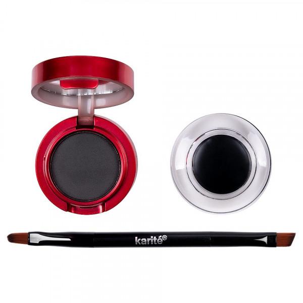 Poze Eyeliner Crema Gel, Pudra Sprancene + Pensula Aplicare, Karite Christmas Edition, Black