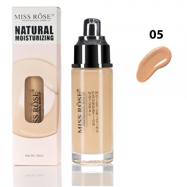 Poze Fond de Ten Miss Rose Moisturizing Foundation Beige #5, 50 ml