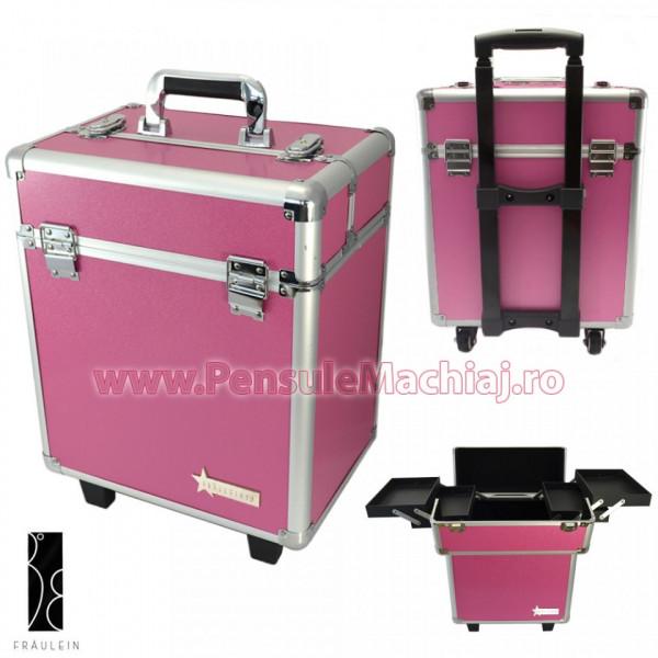 Geanta Produse Cosmetice Tip Troler Din Aluminium Fraulein38, Sweet Pink